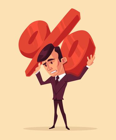 prisoner of the money: Man hold sign of percent. Vector flat cartoon illustration Illustration