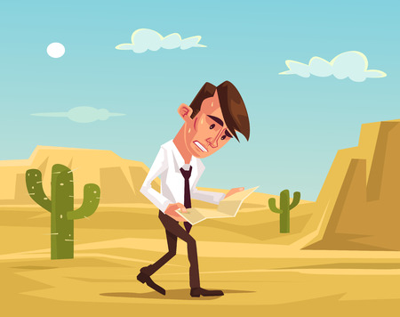 survive: Man lost. Businessman lost in desert. Man trying survive. Lost man hold map. Vector flat cartoon illustration