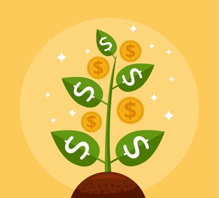 ganancias: Árbol del dinero. Árbol con las monedas de frío. Icono del vector de dibujos animados plana Vectores