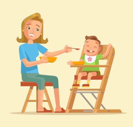 Woman feeding baby. Mother feeding baby. Vector flat cartoon illustration