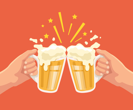 Toast with beer. Two hands. Toast with two hand with beer. Mug of beer. Vector flat cartoon illustration Illustration