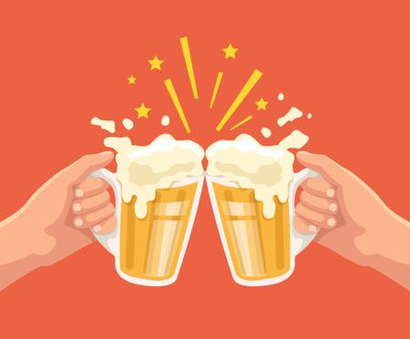 vasos de cerveza: Tostada con la cerveza. Dos manos. Tostada con dos manos con la cerveza. Jarra de cerveza. Vector ilustración de dibujos animados plana