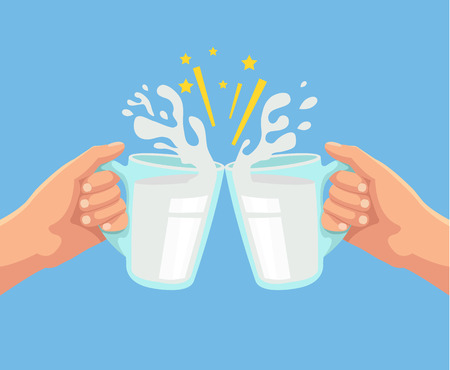 clink: Toast with milk. Two hands. Toast with two hand with milk. Mug of milk. Vector flat cartoon illustration
