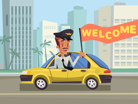 happy driver: Welcome Taxi. Greeting taxi. Happy taxi driver. Yellow New York taxi. Vector flat cartoon illustration Illustration