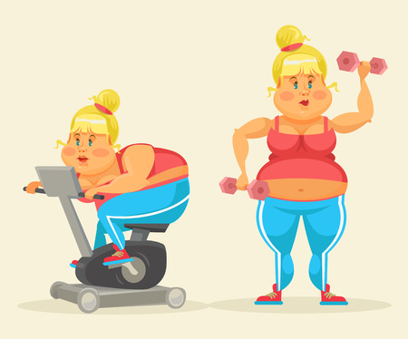 adiposity: Woman exercising. Fat woman in gym. Fat woman do sport. Vector flat cartoon illustration set