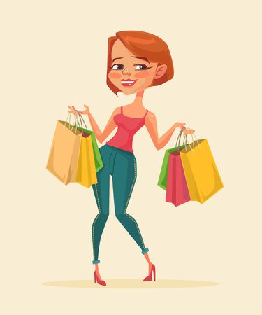 lady shopping: Woman shopping bags. Shopping sale. Shopping discount. Vector flat cartoon illustration Illustration