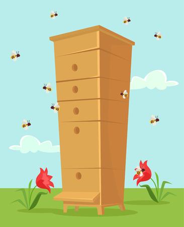 apiculture: Apiary honey bee house. Vector flat cartoon illustration Illustration