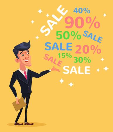 promoter: Black friday. Big sale. Vector flat cartoon illustration Illustration