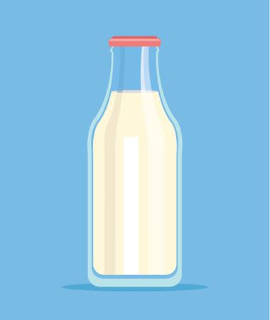 bebidas frias: Botella de leche. Botella aislada de la leche. Vector ilustración de dibujos animados plana Vectores