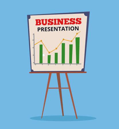 allocation: Business chart presentation. Vector flat cartoon illustration