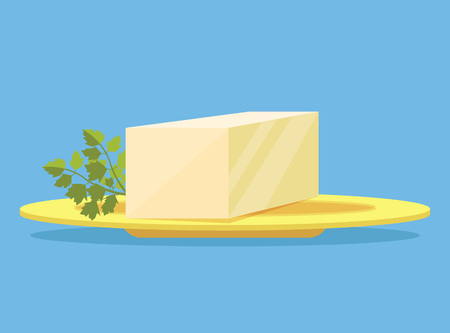 unwrapped: Piece of butter on plate. Vector flat cartoon illustration Illustration