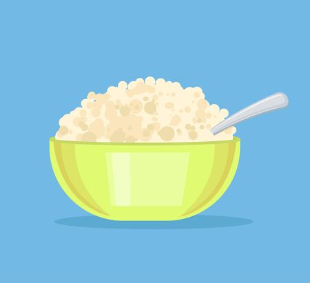 cottage cheese: Fresh cottage cheese in plate. Vector flat cartoon illustration