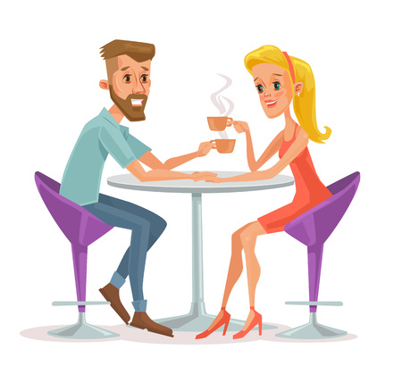 dinner date: Couple sitting in cafe and drinking coffee. Vector flat cartoon illustration Illustration