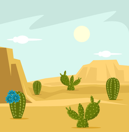 Desert background. Vector flat cartoon illustration