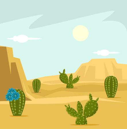 Woestijn achtergrond. Vector flat cartoon illustratie