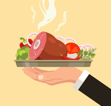 meat food: Hand holding serving plate with meat leg. Vector flat cartoon illustration