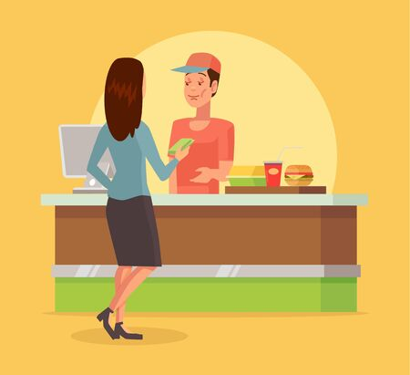 checkout counter: Fast food checkout counter. Vector flat cartoon illustration
