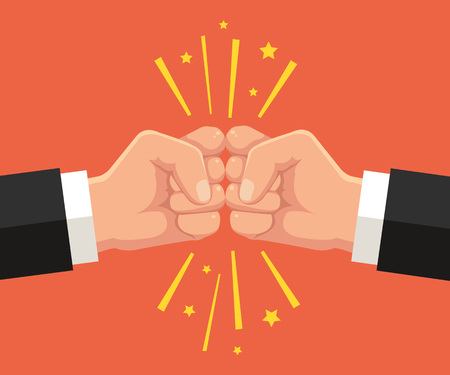 business rival: Two fists punching each other. Vector flat cartoon illustration Illustration