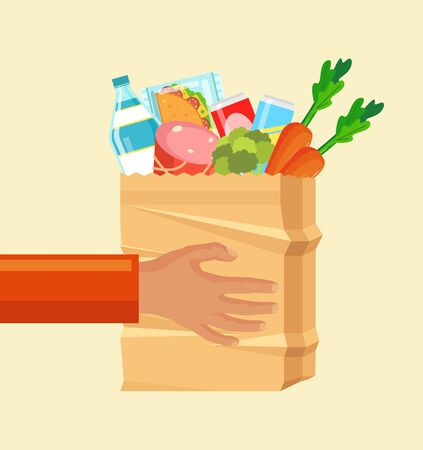 Hands hold paper bag with food. Vector flat cartoon illustration