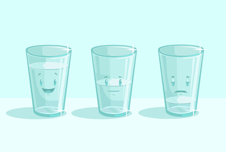 Transparent glasses of water with different emotions. Vector flat cartoon illustration