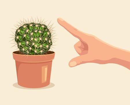Handaanraking cactus. Vector flat cartoon illustratie