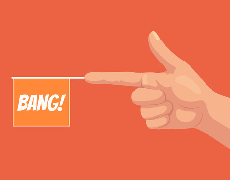 intimidating: Gun hand gesture with bang flag. Vector flat cartoon illustration