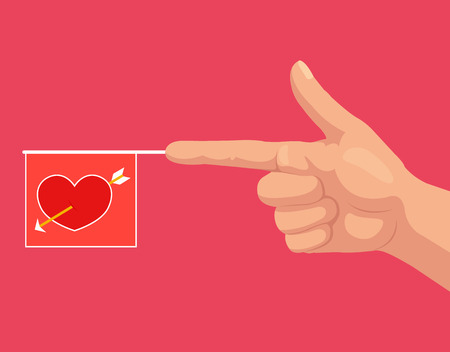 hand gun: Gun hand gesture with bang love flag with heart. Vector flat cartoon illustration Illustration