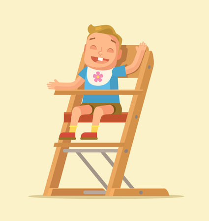 child sitting: Little child sitting on chair. Vector flat cartoon illustration Illustration