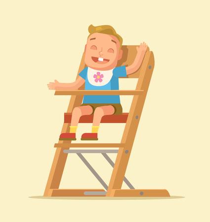feed: Little child sitting on chair. Vector flat cartoon illustration Illustration