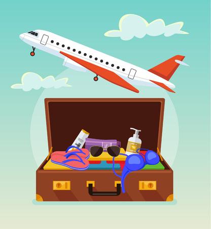 avion caricatura: Abra la maleta con cosas de interés turístico. banner de turismo. bandera del viaje. Vector ilustración de dibujos animados plana Vectores