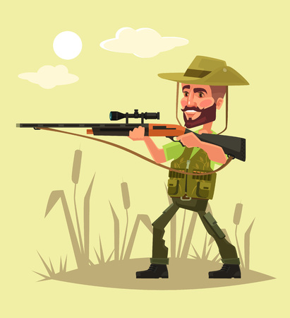 cartoon clothes: Hunter character with gun. Vector flat cartoon illustration Illustration