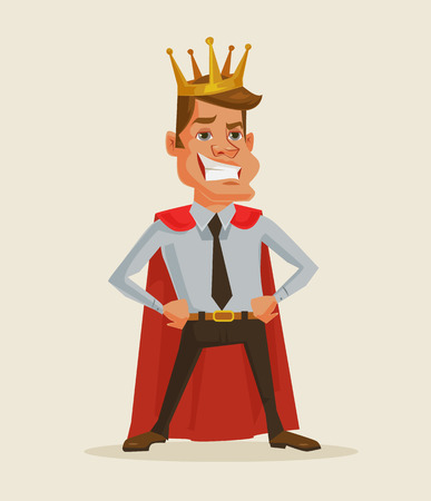 Successful businessman. King businessman. Vector flat cartoon illustration