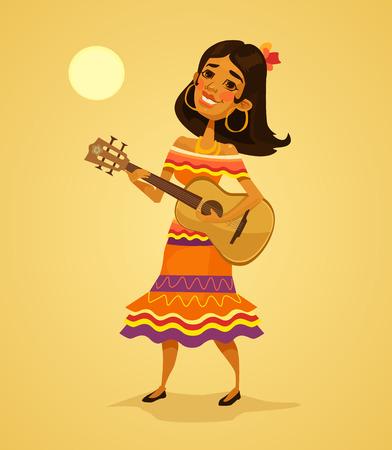 Mexican woman playing guitar. Vector flat cartoon illustration