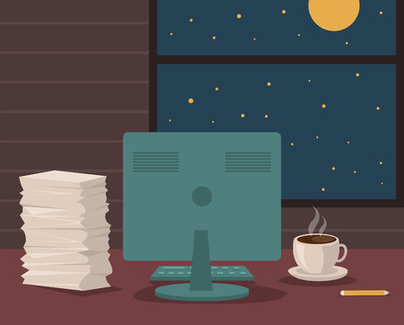 Night empty workspace. Vector flat cartoon illustration Vector Illustration