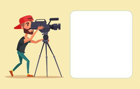 camara de cine: Cameraman con la cámara de cine. Vector ilustración de dibujos animados plana