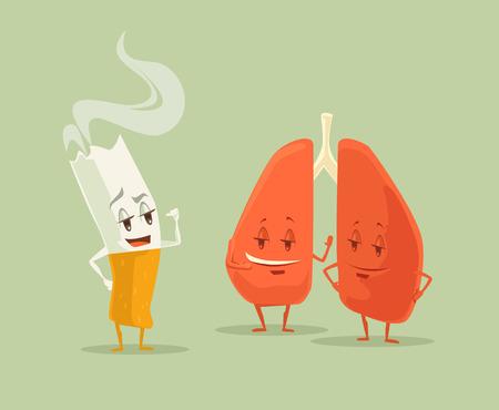 Stop Smoking. Cigarette and lighter. Vector flat cartoon illustration