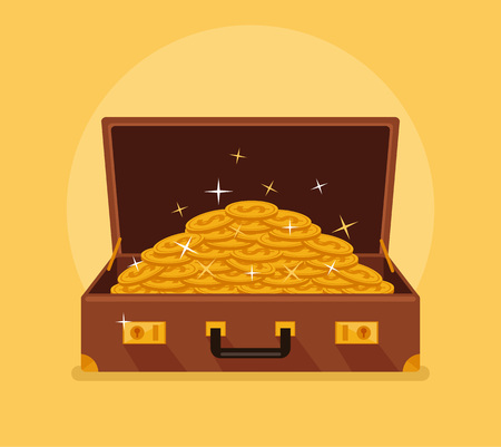 box open: Open suitcase with gold coins. Vector flat cartoon illustration Illustration