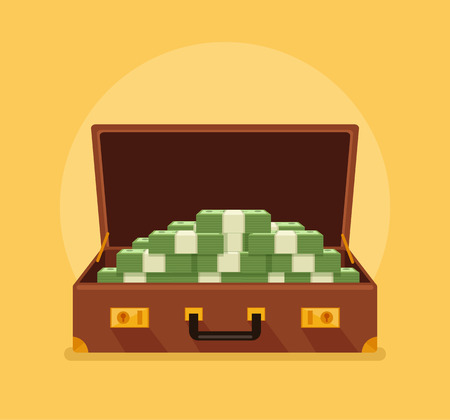 valigia: Apra la valigia piena di soldi. Vector piatta cartone animato Vettoriali