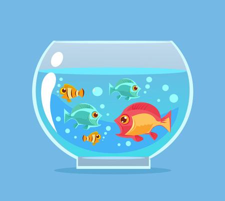 freshwater aquarium: Aquarium fish. Vector flat cartoon illustration Illustration