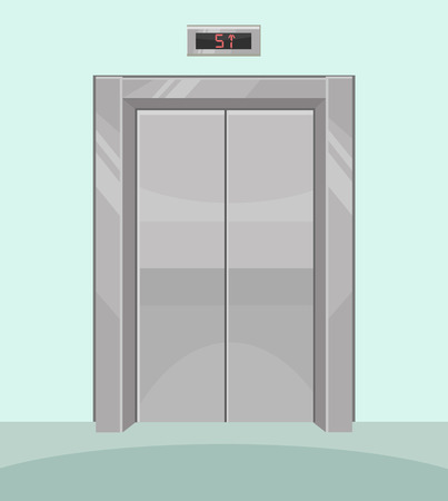 Closed elevator. Iron elevator with closed doors. Vector flat cartoon illustration