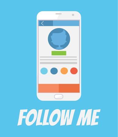 follow me: Follow me. Social networks. Smartphone screen. Vector flat cartoon illustration Illustration