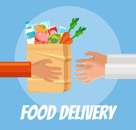 food package: Food delivery. Hands hold food package. Courier gives food package to client. Vector flat cartoon illustration Illustration