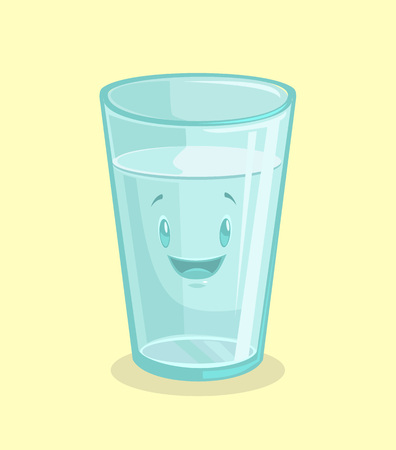 Full glass of water. Vector flat cartoon illustration Vectores