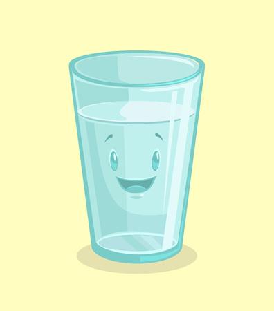 vaso con agua: vaso lleno de agua. Vector ilustración de dibujos animados plana