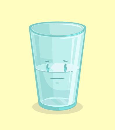 pessimist: Half full glass of water. Vector flat cartoon illustration