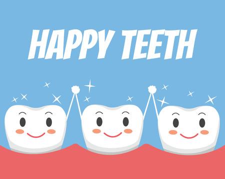 幸せな健康な歯の友人。ベクトル フラット漫画イラスト