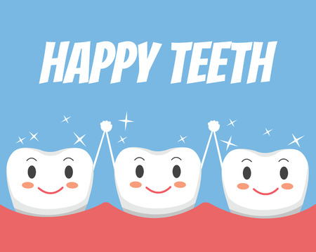 Happy healthy teeth friends. Vector flat cartoon illustration Illustration