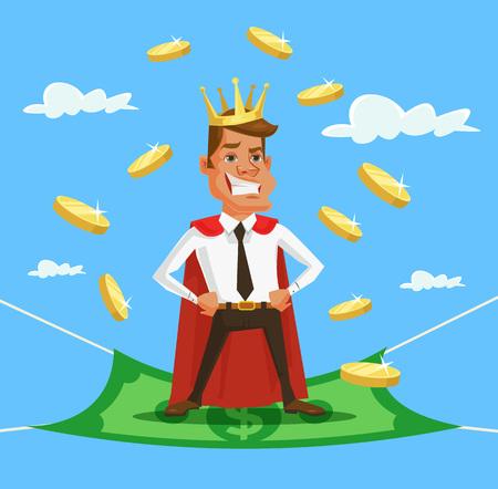 wealthy man: King businessman. Vector flat cartoon illustration Illustration