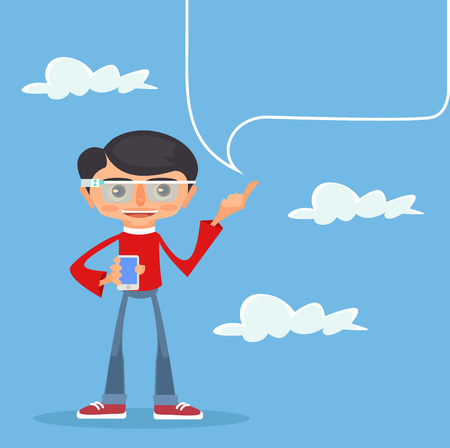 advertising text: Man with smartphone. Text place. Smartphone advertising. Vector flat cartoon illustration Illustration