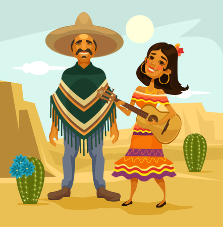Mexican couple. Vector flat cartoon illustration Vectores
